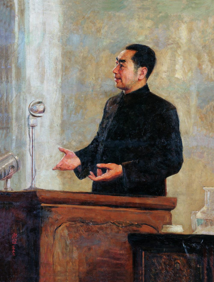 靳尚谊1956年作《在和平的讲坛上》