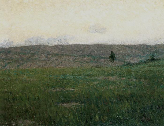 靳尚谊《草场》41×51cm-1990-布面油画