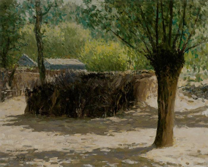 靳尚谊《村落2》45×55cm-1997-纸板油画