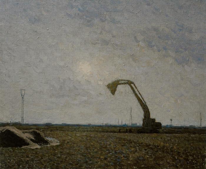 靳尚谊《待建中的安亭》50×60cm-2003-布面油画
