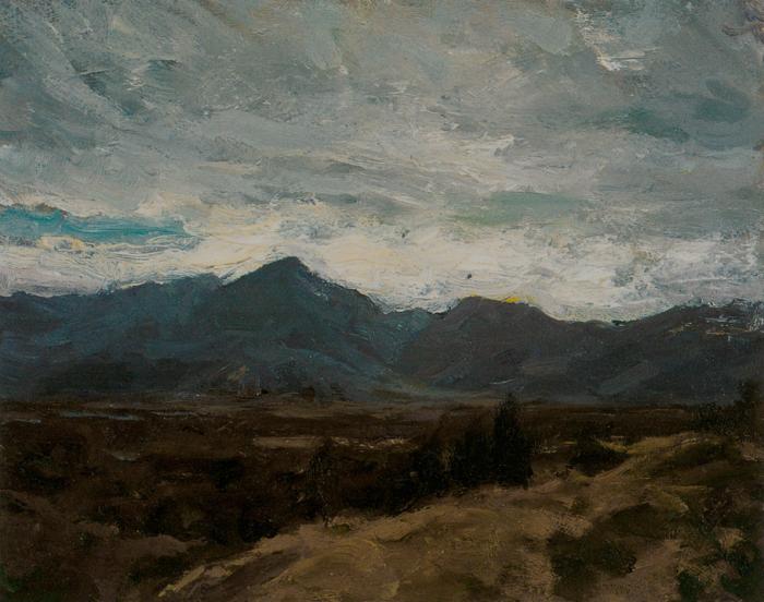 靳尚谊《高原的山》17.7×22.5cm 1981 纸板油画