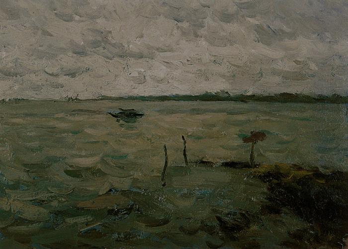 靳尚谊《湖中的船》19×22