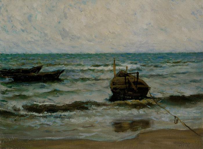 靳尚谊《海滨的船》 24.7×33.5cm 1988 纸板油画