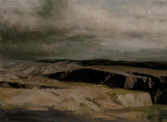 靳尚谊《黄土高原》24.7×33.5cm 1990 纸板油画
