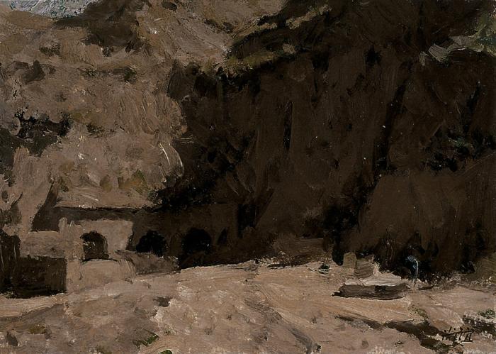靳尚谊《黄土山下的窑洞》16.1×22.9cm 1990 纸板油画