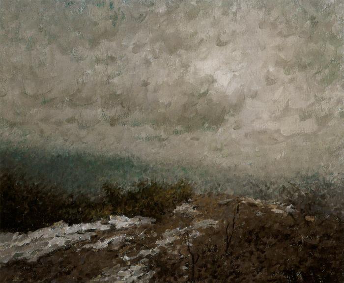 靳尚谊《龙井山烟雨》50×60cm-2002-布面油画