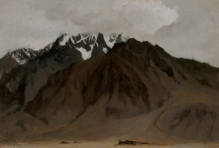 靳尚谊《帕米尔的雪山》27.2×39.3cm 1981 纸板油画