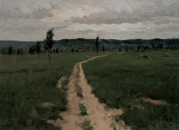 靳尚谊《神木的草场》24.7×33.5cm 1990 纸板油画