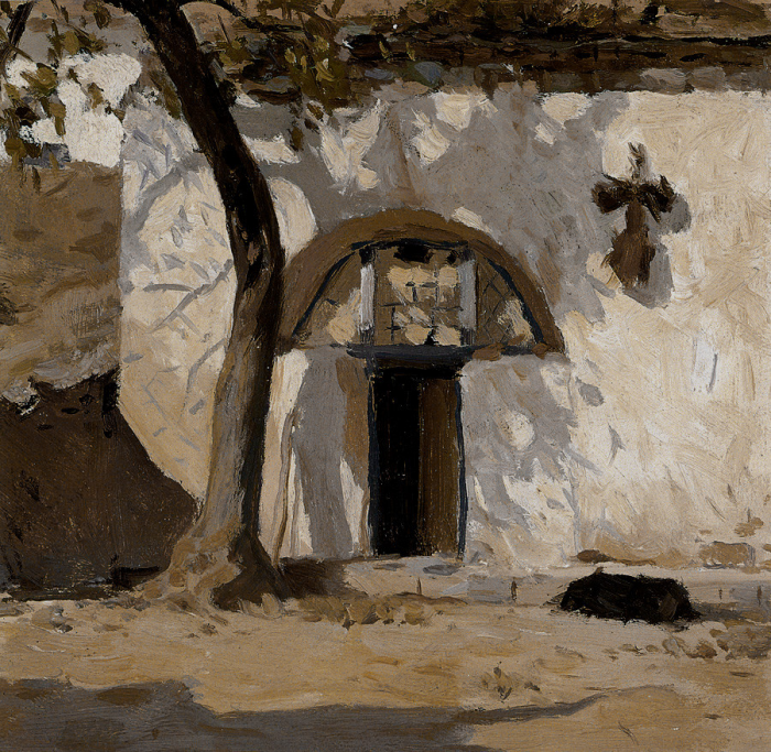 靳尚谊《树影中的窑洞》16.5×17.2cm 1960 纸板油