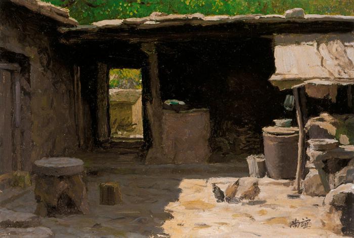 靳尚谊《太行山农舍》23.5×34.6cm 1983 纸板油画