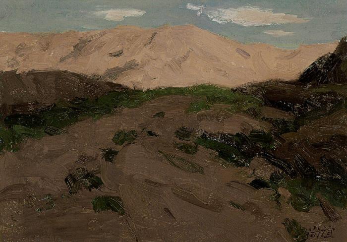 靳尚谊《夕照》16.2×23.2cm 1990 纸板油画