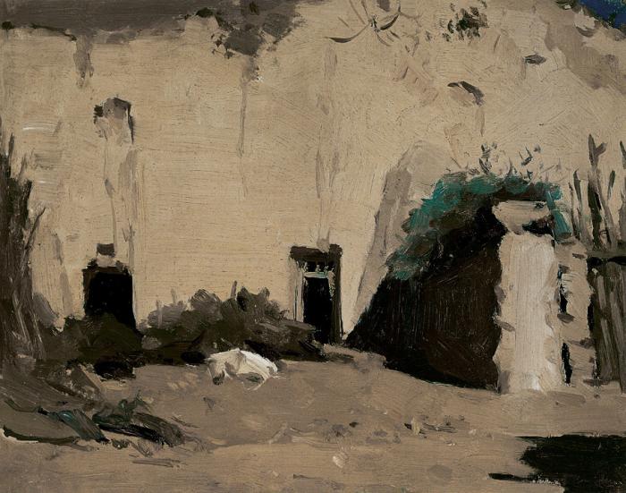 靳尚谊《羊圈》19.5×24.7cm 1960 纸板油画