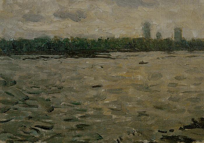 靳尚谊《玉渊潭》16.2×23cm 1991 纸板油画