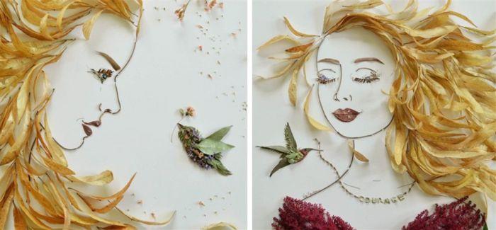 用拼贴艺术创作的女性人物肖像绘画作品