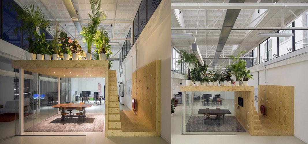 """设计师的改造,变成了现在这个拥有""""房中房""""模式的办公室,中间的玻璃屋"""
