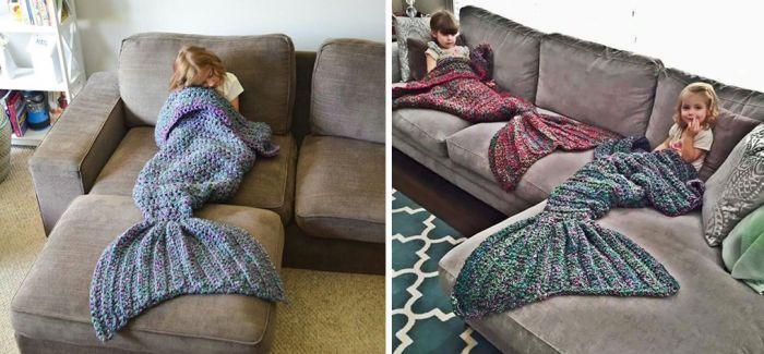 想当美人鱼不用太麻烦 披上这条冬毯就可以