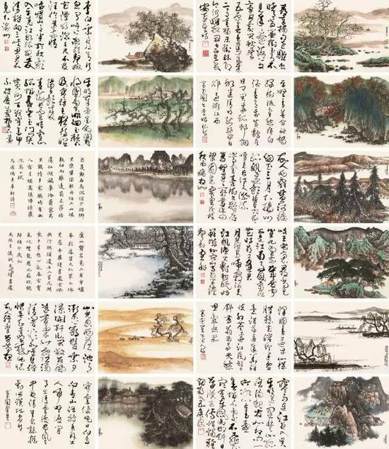 lot 0263 陈佩秋 丁卯(1987年作) 唐人诗意册 册页 (二十四开) 设色纸本 画32.5×43.5cm×12;书32.5×43.5cm×12  估价:1,800,000-2,800,000