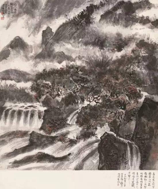 lot 0215 程十发 壬戌(1982)年作 山中一夜雨 立轴 设色纸本 108×101cm  估价:680,000-900,000