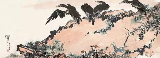 lot 8025 鹰石图 潘天寿 镜片 设色纸本 110×300cm