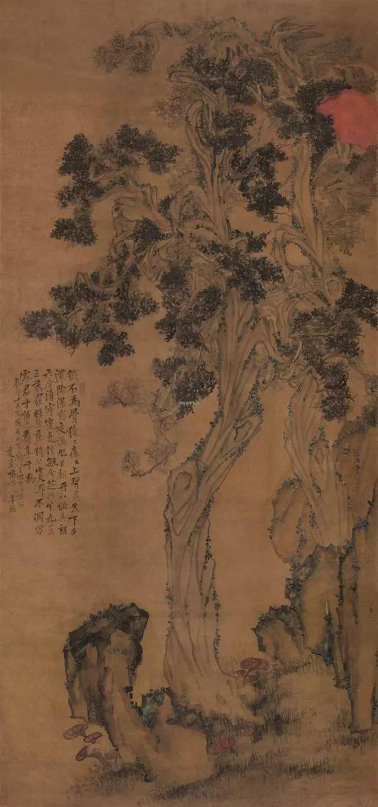 lot 0893 李鱓   戊辰(1748)年作 椿萱百龄图 立轴 设色绢本 208×99cm  估价:3,800,000-5,200,000