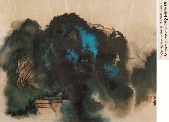 lot 0104 张大千 墨彩云山 镜框 设色金笺 55×69cm  估价:1,200,000-1,800,000