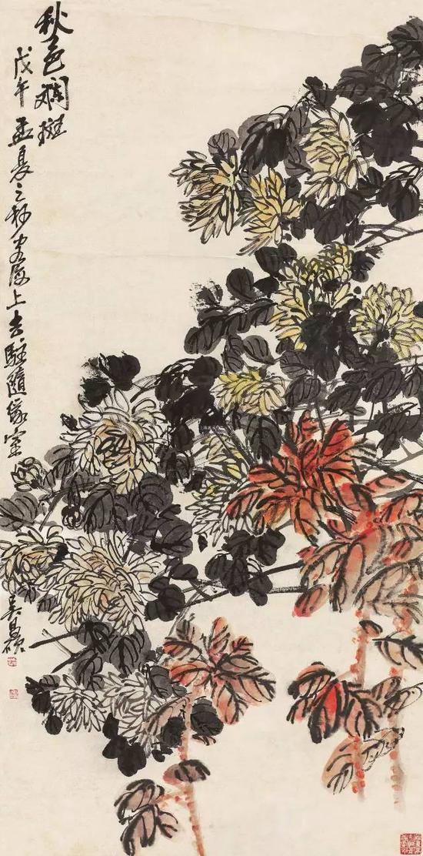 lot 1138 吴昌硕   戊午(1918)年作 秋色斓斑 立轴 设色纸本 134×66cm  估价:1,200,000-1,800,000