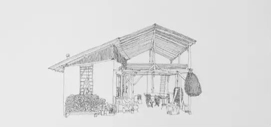 房子的风景素描画