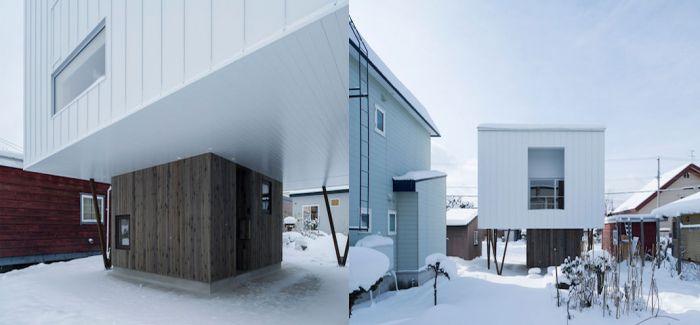 积雪太厚无路回家?那就建个头重脚轻的房子从底下进门吧