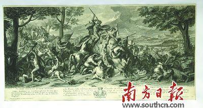 查尔斯·勒布伦18世纪铜版版画《亚历山大与波罗斯之役之一真正的力量永远不败》。