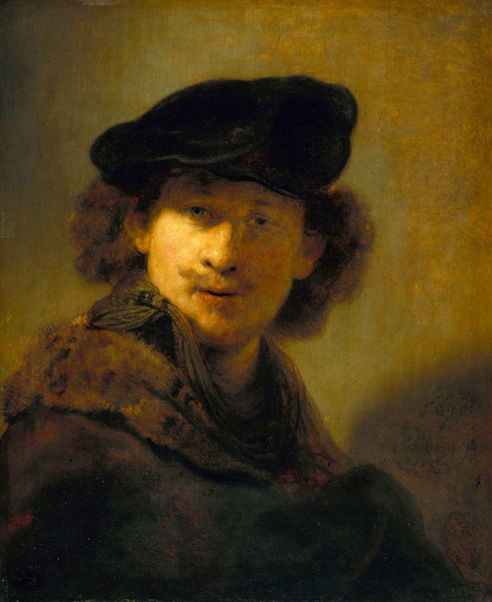 伦勃朗《 戴丝绒贝雷帽的自画像》