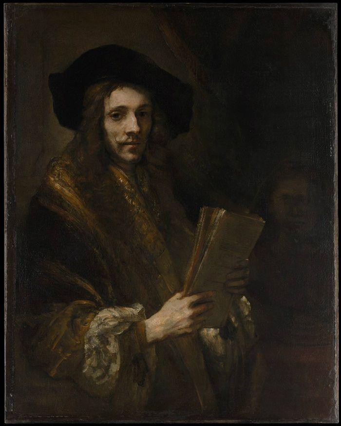 伦勃朗《 拿书籍的男子肖像》