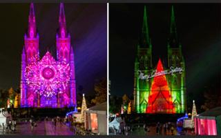 """圣诞悉尼圣母玛利亚大教堂:古老建筑穿上不同""""外衣"""""""