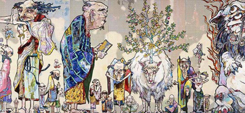 曾为LV设计的村上隆 这次画了罗汉禅宗