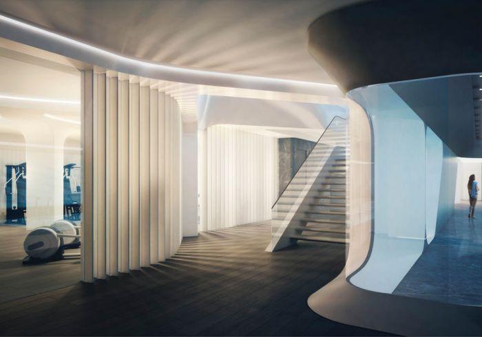 墙面和楼梯都使用了白色,配合着流畅的线条,有音乐感.