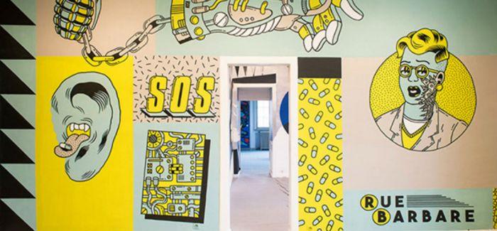 Freak city在牙科学校创作的朋克摇滚主题壁画