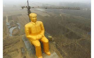 河南惊现巨型金色毛泽东雕像 引发世界范围热议