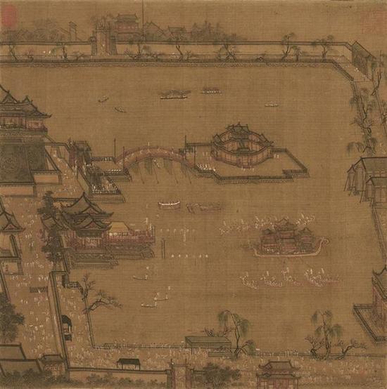 《金明池争标图 》 张择端(署名) 现藏于天津博物馆