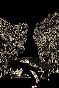 1. 夜的如花的伤口 纸上刻墨 50x38cm 1996