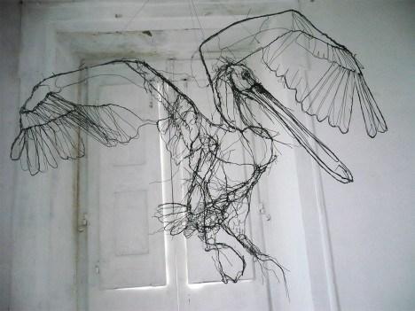 David Oliveira 用电线 画出 的3D素描创作