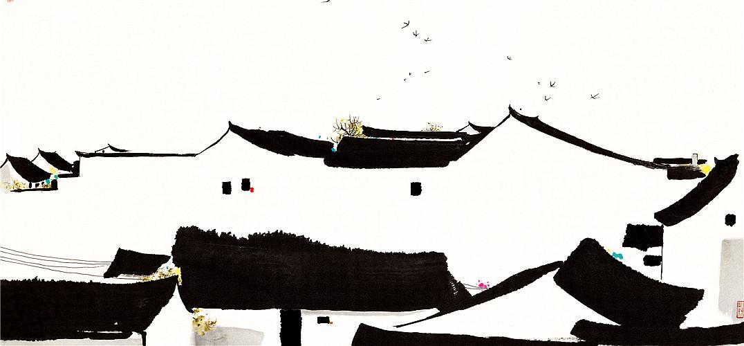 """吴冠中从早年秀丽的江南风景到晚年的抽象线条,用最简单的点、线、面、色之间富有节奏和韵律的形式架构,画面洋溢着浓郁的中国文化诗情和神韵。作为生于江南,长于水乡的画家,吴冠中对江南水乡有着浓厚的深情。正因为有着如此深刻的情怀,使他笔下的水乡流露出情真意切的雅致与领袖。 水乡  描绘江南水乡是吴冠中作品中最具代表性的和最典型的题材。这幅作品以寥寥几笔勾画了江南水乡安宁,白墙黑瓦庄严静谧,盘旋在屋顶的燕子给画面注入了一丝活泼,增添了动感。 江村  这幅作品充分体现了""""点线面,黑白灰,红黄绿&rdqu"""