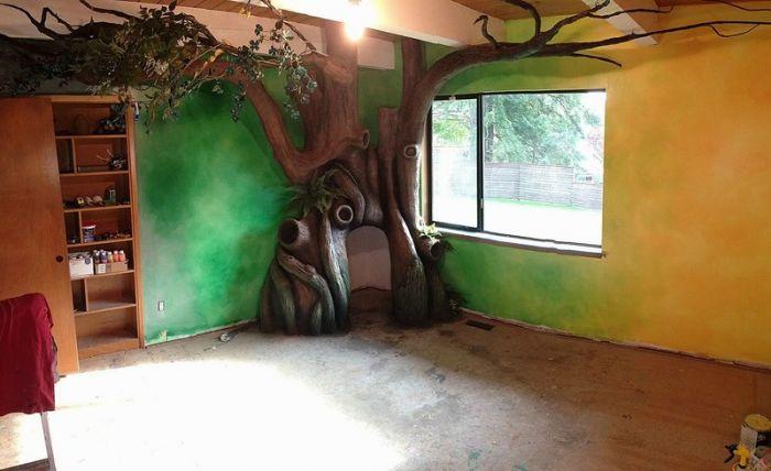 游戏设计师rob adams为女儿打造的魔幻大树卧室