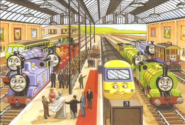 """奥德瑞牧师诞生100周年庆典,胖总管主持半身像揭幕仪式 1945年,威尔伯特·奥德瑞出版了""""铁路故事""""系列,由此,托马斯小火车与他的朋友们正式进入了人们的生活。这是一些随手记下的小故事,为的是""""给二战后孩子们贫瘠的精神生活增添一点乐趣""""。 当年,托马斯小火车之父老奥德瑞,把小火车们的故事设定在虚构的英格兰小岛——多多岛(Island of Sodor)上。这是一个类似于亚特兰蒂斯的地方,毕竟在现实生活中,没有人真正到过"""