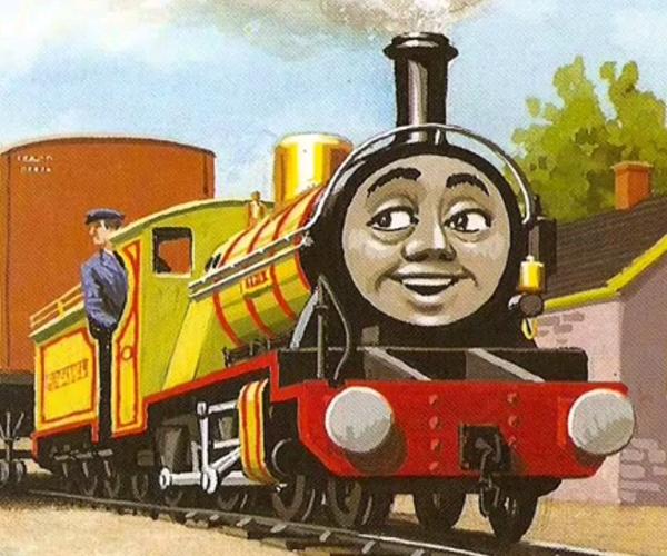 乔克(Jock)(上),乔克原型诺森·罗克(Northern Rock)(下) 线索四:布莱顿枢纽 多多岛上最拉风的人物——托马斯,其原型为伦敦布莱顿至南海岸铁路的E2 0-6-0型蒸汽机头,根据书中描述,胖总管通过一战后的漂亮账目得到了他。