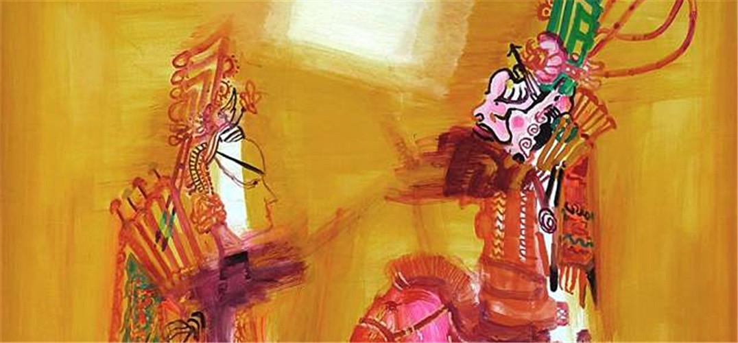 戏曲人物色彩,以墨色勾勒的边缘线,运动的色块与平面化的侧面人像形成