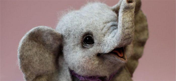 超级拟真羊毛毡动物雕塑!