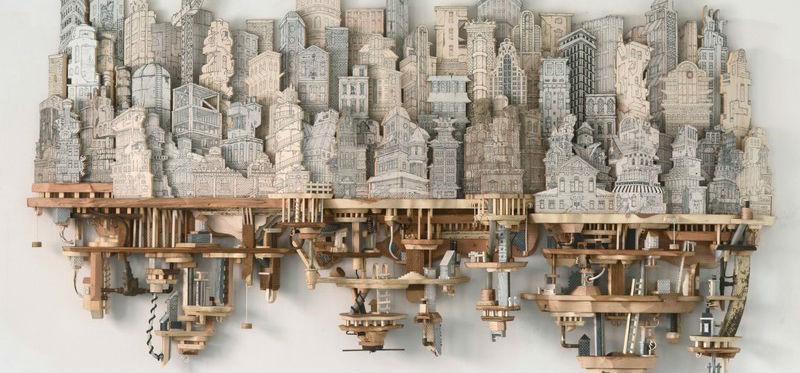 乌托邦式_艺术家将绘画与雕刻结合 创造出反乌托邦式的微缩模型