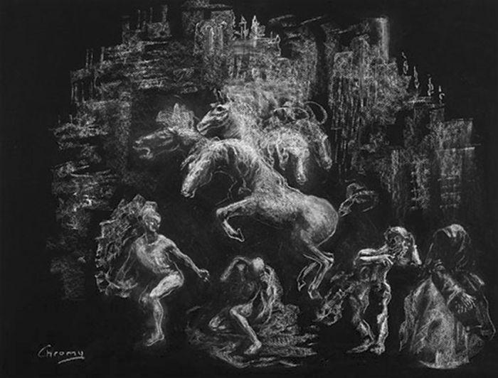 马 创作年代:2001 类型:素描 材料:粉笔黑纸 尺寸:50h×70厘米