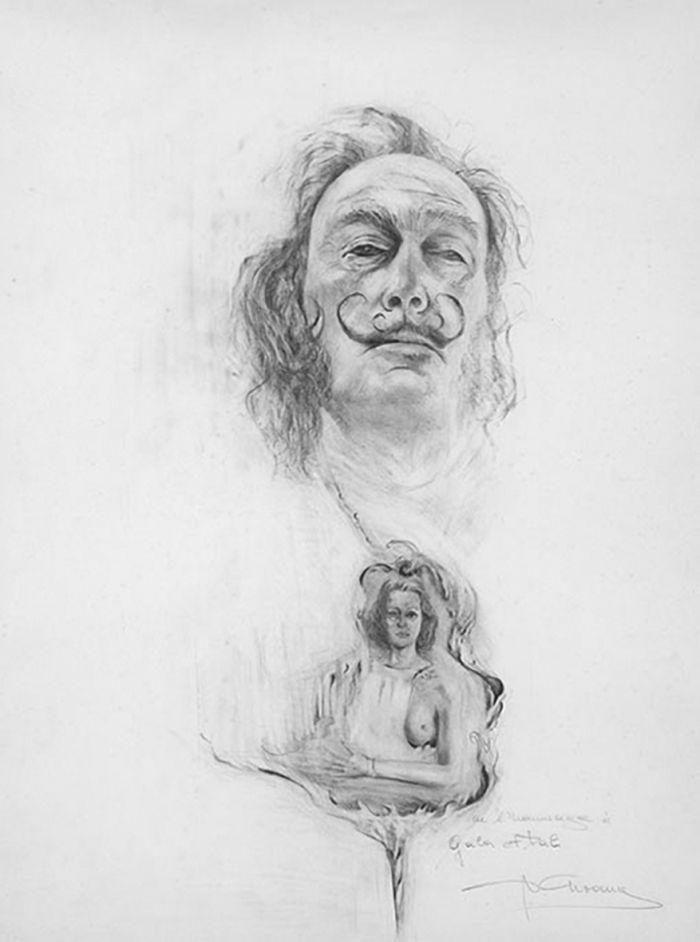 我的导师 创作年代:1977 类型:素描 材料:木炭白纸 尺寸:70h×50cm