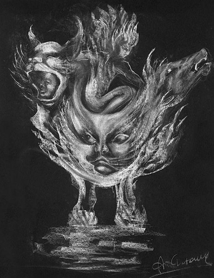 魔力瓶 创作年代:2000 类型:素描 材料:粉笔黑纸 尺寸:70×50cm