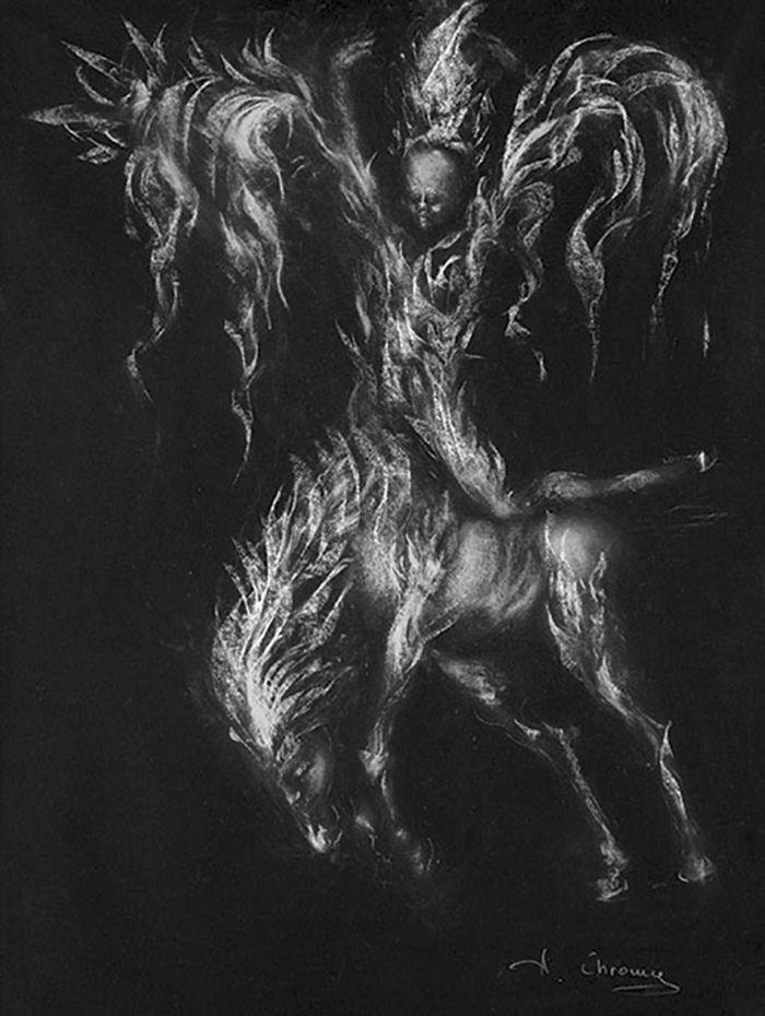 竞技者 创作年代:1998 类型:素描 材料:粉笔黑纸 尺寸:70×50cm